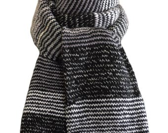 Hand Knit Scarf - Black Grey Striped Keepsake Wool Mohair