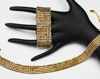 Gold Swarvoski rhinestone necklace bracelet set - Daniel Swavoski Paris - Choker wide bangle - Yellow suede Leather - Gift for her
