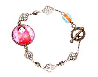 Russian matryoshka doll bracelet