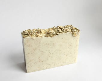 Oatmeal Soap gentle on Sensitive Skin w/ Moisturizing Coconut Oil and Goats Milk, Unscented Bar Soap