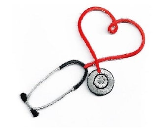 Embroidered Red Stethoscope Iron On Applique Patch - Medical - Nurse - Doctor - Scrubs - CRAFT PROJECTS
