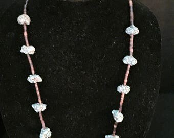 Raw turquoise and shell necklace