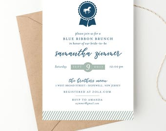 Blue Ribbon Bridal Shower, Preppy Horse Party, Kentucky Derby, Preakness, Belmont, Triple Crown, Equestrian  Printed Invitation or DIY