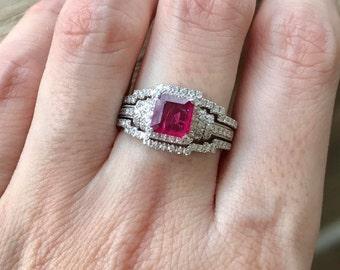 Deco Ruby Engagement Ring Set- Ruby Engagement Ring Set- Unique Bridal Set Rings- Vintage Bridal Set- Princess Ruby Ring Set