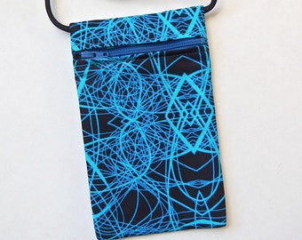 """Pouch Zip Bag Blue Geometric Fabric.  Great for walkers, markets,travel. Cell Phone Pouch. Blue Black cross body purse. 6.75x4"""""""
