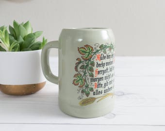 Vintage Gerz Ceramic Beer Stein with Poem