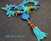 Evening Necklace, Bling, Party wear, Sophisticated, Beaded Tassel, turquoise blue, Purple, quartz needles, statement necklace, UK listing