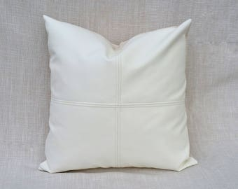 White Faux Leather Paneled Pillow Cover