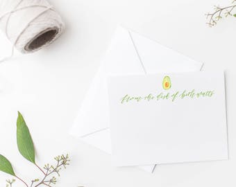 avocado stationery - custom stationery notecard with calligraphy and watercolor - custom watercolor notecard - custom calligraphy