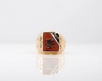 Vintage 10k Gold Sunstone E Signet Ring Gift Groom Husband Dad Unique Unusual