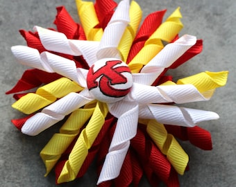 KC Chiefs Inspired Korker Spirit Hair Bow