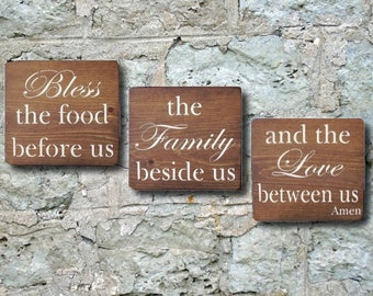 Bless The Food Before Us, Kitchen Decor, Kitchen Signs, Kitchen Wall Decor, Kitchen Prayer, Rustic Sign, Wood Signs