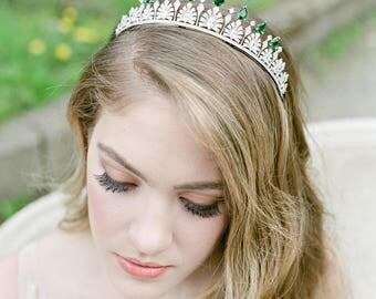 Bridal Tiara Crystal Tiara - SOFIA, Swarovski Bridal Tiara,  Wedding Crown, Emerald Tiara, Wedding Tiara, Diamante Crown, Emerald Tiara