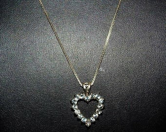 Vintage Sterling Silver Cubic Zirconia Crystal Valentine Heart Necklace NC6