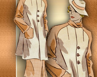 1930s Swagger Coat Pattern Two Lengths * Raglan Sleeves Patch Pockets Bias Cut Back 3 Button Front Closure Hollywood 1078