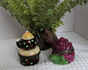 Tea Pot Trinket Holders, Porcelain, Set of 2, Teapot Gift Holder, Knick Knacks, Purple Grapes & Polka Dots ~ BreezyJunction.etsy.com