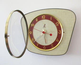 1950s-60s Atomic Age Vintage French JAZ Formica Wall Clock - Funky Freeform Shape - Beige and Maroon - Perfect Working Condition
