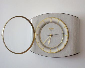 French 1950-60s Atomic Age BAYARD GRAY Formica Wall Clock - Freeform Shape - Good Working Condition