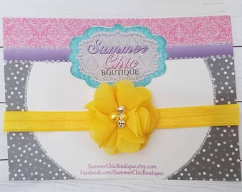 Yellow Headband, Bright Yellow Baby Headband, Infant Headband, Newborn Headband, Yellow Baby Headband,  Headband,Chiffon and Pearls Headband