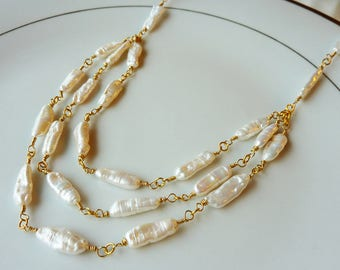 Triple Strand Irregular White Wirewrapped Pearls Necklace