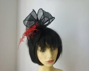Black Fascinator with Red Feather