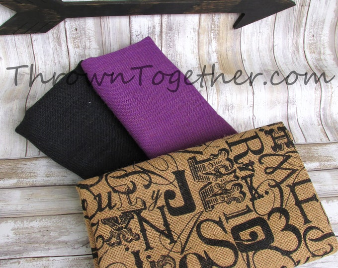 Burlap Fabric Bundle, DIY Burlap Supplies, Font on Natural Burlap Pack, Purple Black Burlap Fabric, DIY Craft Supply, 3pc burlap supplies