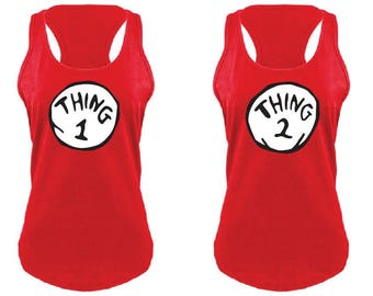 Thing 1 One & Thing 2 Two Red Womens Tank Top Gathered Racer back Nice Fit Curved Hem with Longer Length