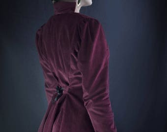 whitechapel ribbed Burgundy velvet coat