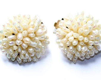 Faux Pearls Cluster Vintage Clip On Earrings (c1960s) - Wedding