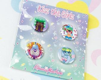 Kiss the Girls, Monster Girls, Pinback Button Set of 4, Kawaii, Fairy Kei Gift, Flair Game, Pastel Goth, Creepy Cute