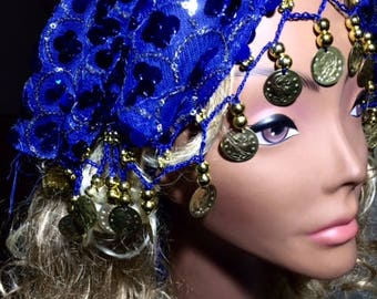 Renaissance Halo Veil-Sapphire Blue-Features Gold and Silver Sequin and Crochet Coin Chain
