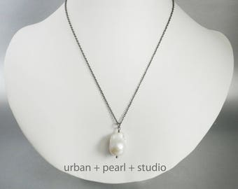 Baroque Pearl Necklace Large Baroque Pearl Pendant Gifts Under 30 Dollars Big Pearl Drop Unique Pearl Necklace BPNG03