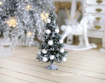 Dollhouse Miniature Christmas Tree, White & Silver