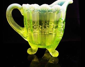 Gorgeous vaseline glass pitcher / yellow milk pitcher / Glassware / Opalescent / Klondike Footed / Scroll Serving Glass Creamer
