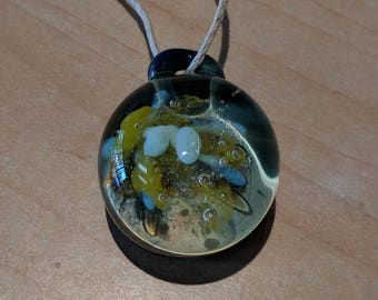 "Handblown Boro Glass Implosion Flower Pendant Necklace 1"" BTC and ETH ACCEPTED!"