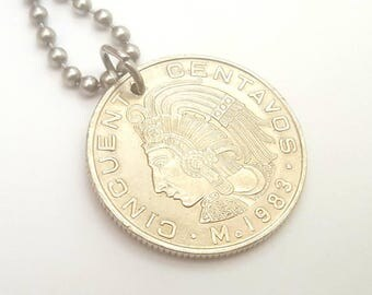 1983 Mexican Cincuento Coin Necklace - Stainless Steel Ball Chain or Key-chain