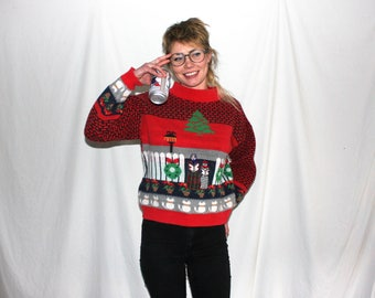 Vintage Christmas Sweater. Ugly Holiday Sweater. Awkward Christmas Party Sweater. Christmas Carol All Over Print Sweater.