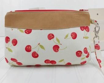 Curvy Clutch w/ Wrist Strap - White Cherries & Italian Lambskin Leather