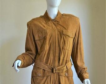 1980s Donna Karan DKNY Luxurious Brown Suede Safari Jacket