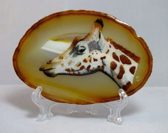 Giraffe Agate Painting