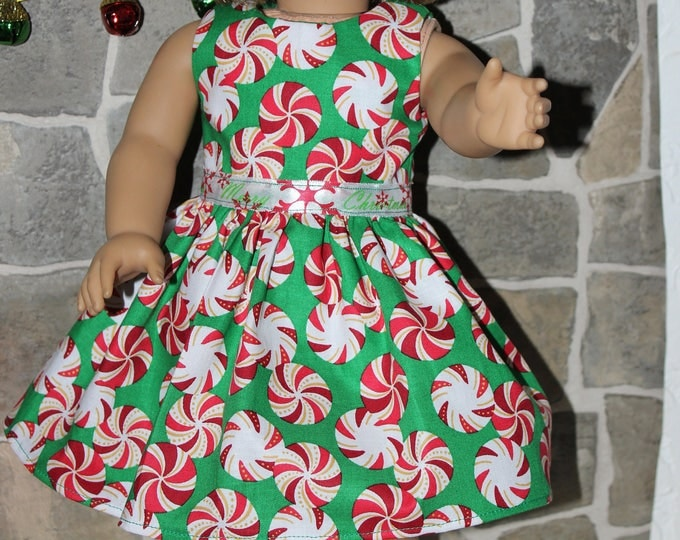 Green Christmas Candy Print Dress Green Ribbon, Sandals made to fit the likes of American Girl and other 18 inch dolls, FREE SHIPPING