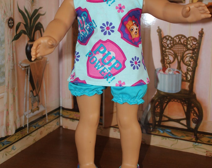 Paw Patrol Pajama's, Tonic and Blue Bloomers W/Shoes. Handmade to fit the American Girl and Other 18 inch doll s Free Shipping