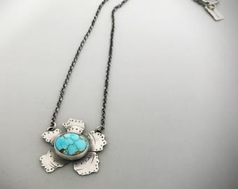 Genuine Turquoise Pendant, Sterling Silver Flower Necklace, Handmade Artisan Jewelry, Dream Necklace, Gift Ideas For Mother.