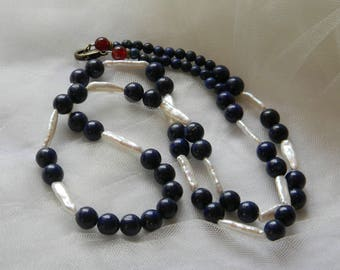 Lapis lazuli necklace w baroque pearls , navy color lapis beads , long single strand , lapis healing & chakra gemstone , lapis with pearls