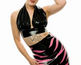 Latex Zebra High Waisted Mini Skirt