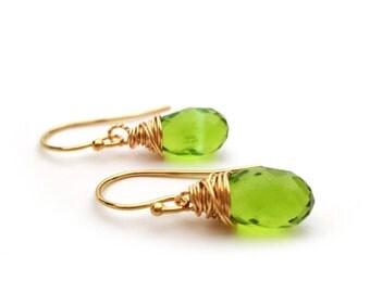 Peridot Earrings - Gemstone Earrings - August Birthstone - Dainty Earrings - 14k Gold Filled Earrings - Peridot Jewelry - Green Earrings