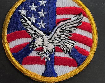 Embroidered 1970s Vietnam Anti-War Movement design Peace Patch featuring the American Flag - American Eagle - Peace Sign