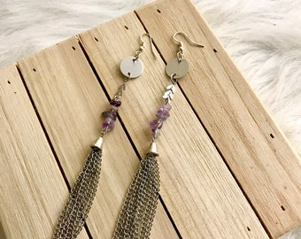 Amethyst Earrings, Tassel Earrings, Fringe Earrings, Purple Earrings, Long Earrings, Bohemian Jewelry