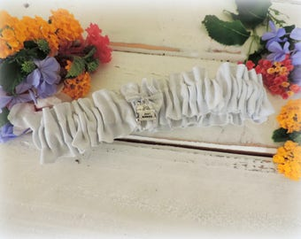 Garter for wedding garter silver white garter accessories throw garter keepsake garter Just marries charm garter