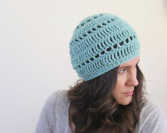 Cotton Summer Beanie, Cotton Summer Beret Hat, Summer Knit Berets, Boho Style Beanie, Womens Boho Beanie, Crochet Beanie Adult